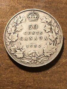 RARE Canada 1932  Silver 50 Cents,  KM 25a. King George V - Exc. Cond  *** VF +