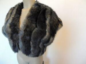 Tahari size small black & gray faux fur shawl wrap
