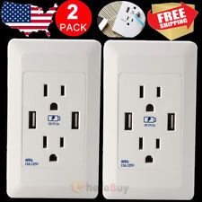2x Dual USB 2 Port Wall Socket Charger AC Power Receptacle Outlet Plate Panel US
