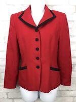 Pendleton Vintage Blaze Red Black Trim Lined 100% Wool Blazer Suit Jacket Size 6