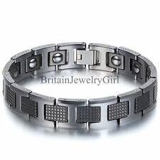 "12MM Black Tungsten Carbide Magnetic Men's Boy's Cuff Bangle Bracelet 7.9"""