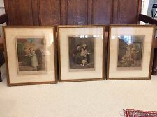 """SET OF 3 FRAMED ANTIQUE """"CRIES OF LONDON"""" HAND COLORED PRINTS PLATES 6, 10, 12"""