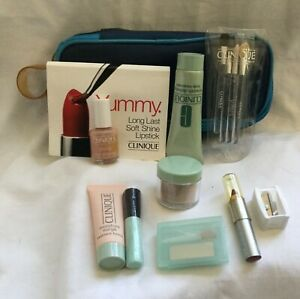 CLINIQUE 11 piece Face Nails Lips, Body Package & Teal Blue Travel Case New