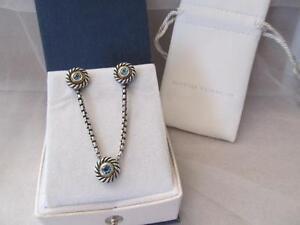 """David Yurman Blue Topaz 14K Gold~ Sterling Silver Cookie 16"""" Necklace~ Earrings"""