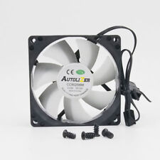 White 80mm Computer PC Case Cooling Fan Quiet Sleeve Bearing w/ Screw Autolizer