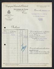 """TOURS (37) FOURNITURE & MATERIEL """"COMPAGNIE GENERALE D'ELECTRICITE"""" 1927"""