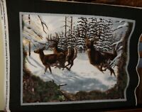 Three Deer in the Snow Fleece Fabric Panel -- New