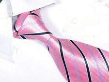 1 x quality mens silk tie jacquard pink wedding birthday business shirt party
