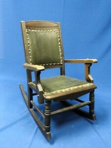 ANTIQUE QUEEN ANNE STYLE WOOD & LEATHER CHILD FURNITURE ROCKER DOLL TOY CHAIR