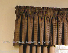 """Allen Roth LINCOLNSHIRE Pleated Satin Chocolate Brown Window Valance 18"""" x 45"""""""