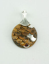 Tiger's Eye Handcrafted Sterling Silver Pendant Enhancer For Valentines Day Gift