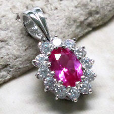 ADORABLE 1.5 CT RUBY OVAL CUT 925 STERLING SILVER PENDANT