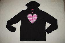 Girls Black Hooded Sweat Jacket Zip Front Pink Silver Glitter Heart Xl 14-16