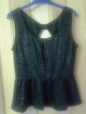 Ladies Gorgeous Black Size Medium Oasis Peplum Party Top BNWT £22 in Store