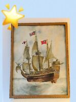 Marine  Flagship Ship Watercolour 60s Sailng ship