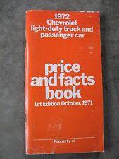 1972 Chevrolet Dealers Sales price Facts book Corvette Camaro Chevelle Impala