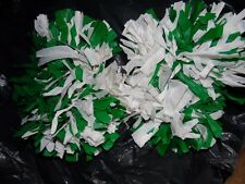 1 Pair of 10 inch Cheerleading Pom Poms Green and White