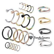 Quality Stainless Steel Nose Body Piercing Ear Hoop Seemless Ball Ring 0.8mm