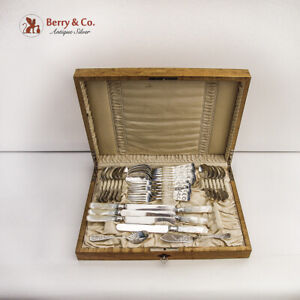 Flatware Set 32 Pieces Bright Cut Decorations Sterling Silver Towle 1885