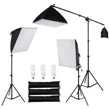 Photograpy Kit 3x(24*24)Softbox Boom 3x7ft Studio Tripod 3x45wLight Bulb