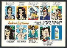 Andrea Pazienza :  Cartolina invito a Mostra del 1992 sponsorizzata Clear