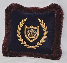 """Embroidered Gold Crown Pillow made w Navy Blue Velvet 12"""" trim brush fringe NEW"""