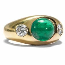 High Fine Emerald & Diamond Ring in 750 Gold Brilliant / Band Ring Emerald 18K