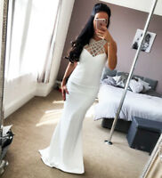 New Quiz Ivory Embellished Bridal Dress Maxi Plus Sizes Womens UK RRP 79.99