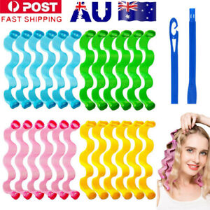 24Pcs Hair Curlers 30cm Spiral Curls Styling Heatless Wave Curler Roll with Hook