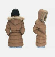 LeeHanTon Puffer Sherpa-Lined, Hooded & Belted Coat /Jacket Women's Sz S   WC086