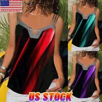 Women Summer Spaghetti Strap Vest Cami Print Blouse Sleeveless T Shirt Tank Tops