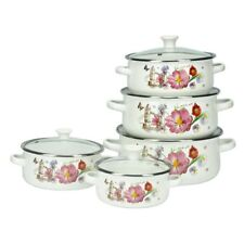 10 Pc Enamel Cookware Set Casserole Pots Lid Soup Stockpot Flowers White Pan Red