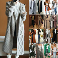 Women Winter Cardigan Chunky Knitted Long Sweater Coat Casual Open Front Outwear