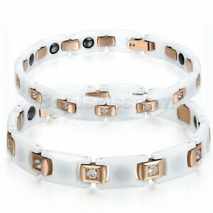 Couples White Ceramic Rose Gold Tone Stainless Steel CZ Health Chain Bracelet