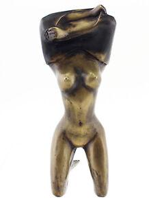 Solid Bronze Kneeling Nude Figurine - Nude Woman Figurine