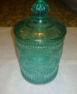 "Pioneer Woman Adeline 4""  Mini Jar With Lid Teal Glass"