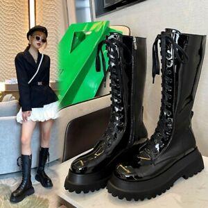 Women's Fashion Leather Platform Lace Up Mid Calf Combat Biker Boots Shoes SKGB