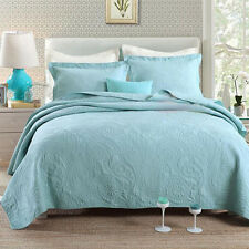 Blue 100% Cotton Coverlets Bedspread Queen King Size Bedding With Pillowcase New
