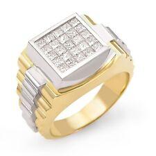 1.50 CT Men's Princess Cut Diamond Invisible Set VS1 Ring 14K Two Tone Gold