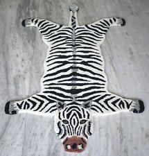 Hand Tufted Wool Zebra Carpet Animal Theme 95'x155' Cm African Zebra Rug