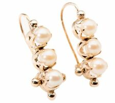 Victorian style Pearl Drop Dangle Earrings in 14 Karat Yellow Gold Handmade