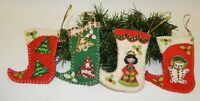 4 Vtg Hand Embellished Sequined Beaded Miniature Christmas Stocking Ornaments