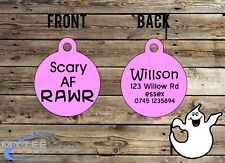 "Halloween Dog ID Collar Tag ""Scary As F*** RAWR"" - Double Sided Pet Charm Tag"