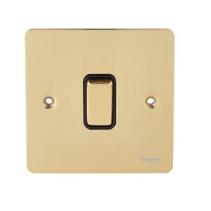 SCHNEIDER Ultimate Flat plate - 2-pole switch - 1 gang - brass GU2210PBP 20A