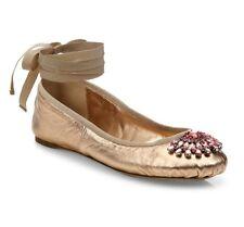 Jimmy Choo Grace Embellished Metallic Ankle Wrap Ballet Flats Shoe $595
