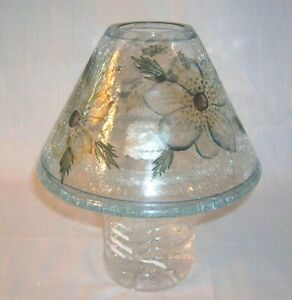 Yankee Candle Large Jar Crackle Glass Shade Blue & Yellow Flowers (Shade Only)