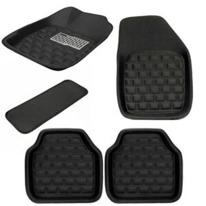 5PCS Universal Car Floor Mats Front & Rear Interior Carpet Trim Black Easy Clean
