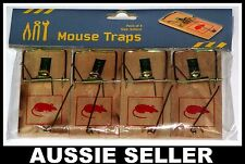 4 x PACK TRADITIONAL WOODEN MOUSE TRAPS, RODENT MOUSETRAP BAIT AUSSIE SELLER