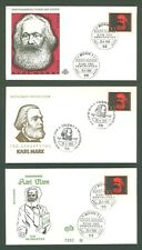 Star J66 Germany 1968 3 FDC 3v Famous People Karl Marx
