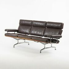1980's Vintage Eames Herman Miller Three Seater Sofa Walnut and Brown Leather #2